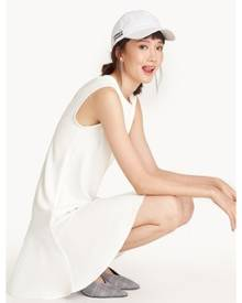 Pomelo Mini Sleeveless Flounce Hem Dress - White