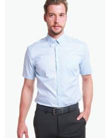 T.M. LEWIN T.M.Lewin Half Sleeve Fitted Blue Oxford Weave Shirt