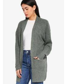 Miss Selfridge Khaki Cable Longline Cardigan
