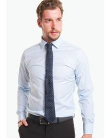 T.M. LEWIN T.M.Lewin Super Fitted Blue End-On-End Button Cuff Shirt