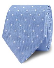 T.M. LEWIN T.M.Lewin Sky Blue White Textured Satin Spot Silk Tie