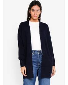 Miss Selfridge Navy Cable Longline Knitted Cardigan