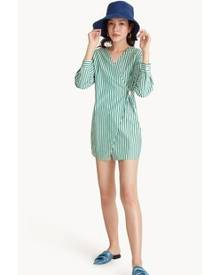 Pomelo Mini Fold Over Striped Dress - Green