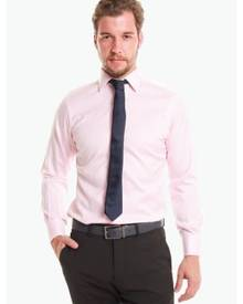 T.M. LEWIN T.M.Lewin Non-Iron Pink Stripe Double Cuff Slim Fit Shirt