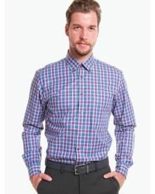 T.M. LEWIN T.M.Lewin Casual Slim Pink Blue Check Poplin Oxford Shirt