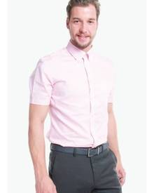 T.M. LEWIN T.M.Lewin Half Sleeve Fitted Pink Oxford Weave Shirt