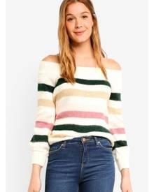 Miss Selfridge Petite Multi Stripe Bardot Knitted Jumper