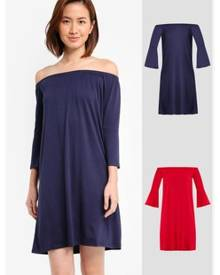 c8a7f477ebb18 ZALORA BASICS 2 Pack Essential Loose Off Shoulder Dress With Flared Sleeve