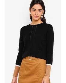 ZALORA Pullover With Colorblocked Cuff