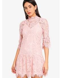 1ad7059eb03 MISSGUIDED Lace Frill Sleeve High Neck Shift Dress