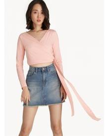 Pomelo Surplice Self Tie Blouse - Light Pink