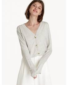 Pomelo Cropped V Neck Cardigan - Light Grey