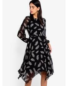 1f1e92db725ff Wallis Petite Black Feather Print Fit And Flare Dress