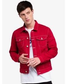 Topman Red Contrast Stitch Denim Jacket
