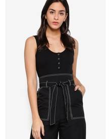 MISSGUIDED Button Front Rib Bodysuit