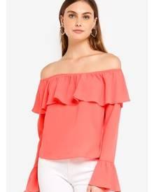 Glamorous Long Sleeved Bardot Flare Top
