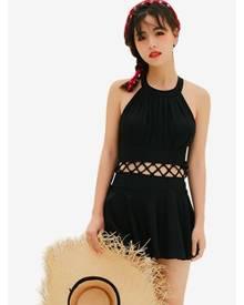 a86b8b4da54 Zafiti Halter Neck One Piece Dress Style Swimsuit
