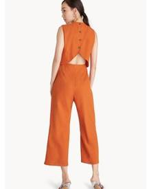 a60c751f273 ZALORA. Pomelo Buttoned Cut Out Back Jumpsuit - Orange