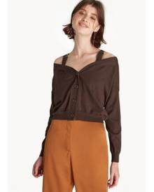 Pomelo Buckle Strap Off Shoulder Top - Brown