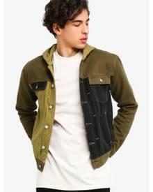 Topman Green Hooded Denim Jacket