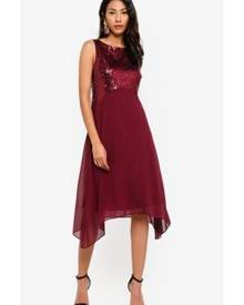 cc00a06a9124 Wallis Petite Berry Embellished Asymmetric Dress