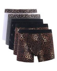 River Island Leopard Print Trunks Multipack