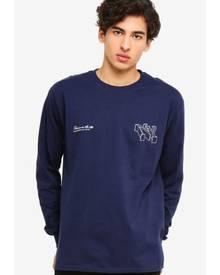 b0f68e0a418 Topman Navy  NY City  Long Sleeve T-Shirt