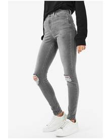 TOPSHOP Grey Cast Ripped Jamie Jeans