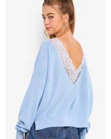 Something Borrowed Oversized Sweater With Back Lace Trim