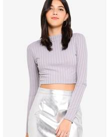 MISSGUIDED Matte Ribbed High Neck Long Sleeve Crop