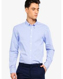 T.M. LEWIN T.M.Lewin Stretch Casual Fitted Blue Gingham Button Down Collar Shirt
