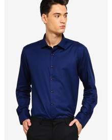 T.M. LEWIN T.M.Lewin Casual Slim Navy Statement Twill Cutaway Collar Shirt