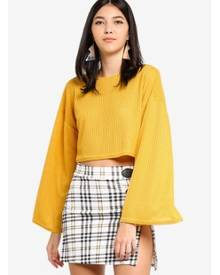 MISSGUIDED Cut And Sew Crop Golden Rod Yellow Sweater
