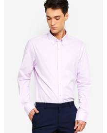 T.M. LEWIN T.M.Lewin Stretch Casual Fitted Pink Plain Button Down Collar Shirt