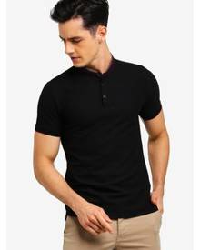 G2000 Woven Detail Stand Collar Polo Shirt