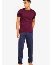 Burton Menswear London Burgundy And Blue Pyjama Set