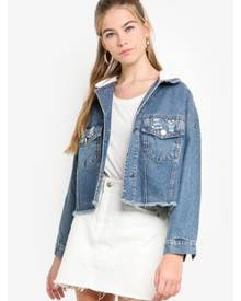 Eyescream Cropped Hoodie Denim Jacket