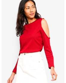 4796f28711391 ZALORA BASICS Basic Long Sleeves Cold Shoulder Top