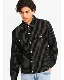 Topman Black Pinstripe Denim Jacket