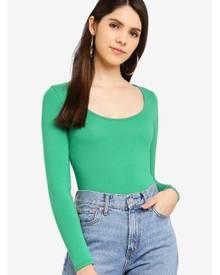 Miss Selfridge Green Long Sleeve Scoop Neck Body 00b5302b2