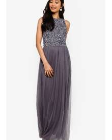 ac6c6e90c Lace & Beads Hemingway Embellished Sleeveless Maxi Dress