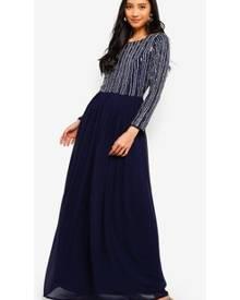 30fd8ea88 Lace & Beads Jovi Long Sleeve Embellished Maxi Dress