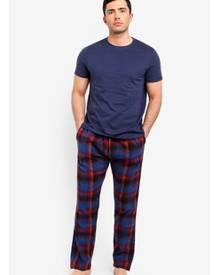 Burton Menswear London Blue Cotton Check Pyjama Set