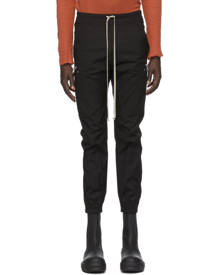 Rick Owens Black Poplin Cargo Jogger Pants
