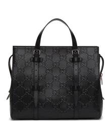 Gucci Black Gucci Signature Weekender Tote