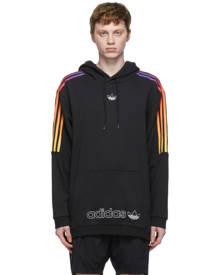 adidas Originals Black and Multicolor SPRT 3-Stripe Hoodie