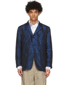 Engineered Garments Black and Blue Jacquard Shiny NB Blazer