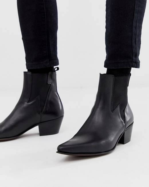 a0eda5841ed stacked heel western chelsea boots in black leather with lightning detail -  Black