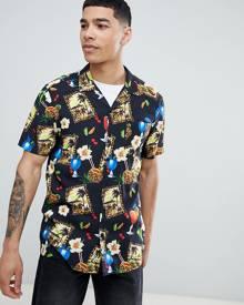 ASOS DESIGN regular fit cocktail print shirt with revere collar-Black