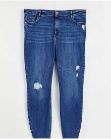 River Island Plus ripped raw hem high rise skinny jeans in mid auth blue-Blues